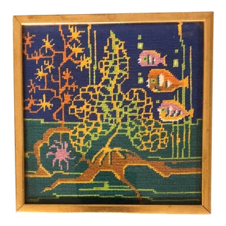 Original Vintage Needlepoint Fish W/ Coral Framed For Sale