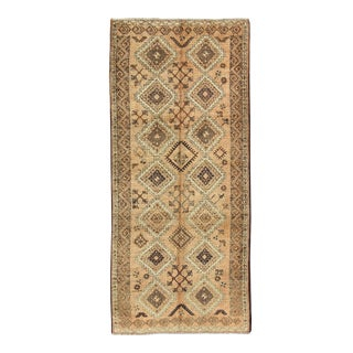 Vintage Tribal Turkish Wide Runner With Repeating Diamond & Geometric Motifs For Sale