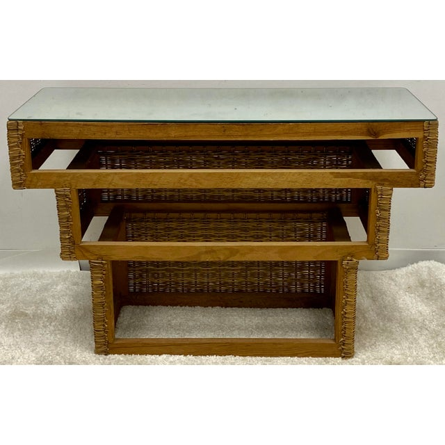 Mid-Century Modern Graduated Wicker Console Table For Sale - Image 4 of 7