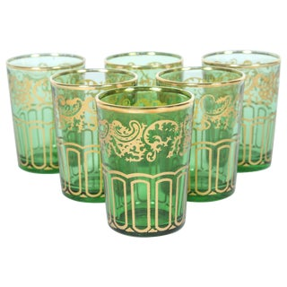Set of Six Moroccan Green and Gold Glasses For Sale