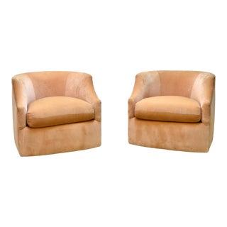 Pair of Velvet Swivel Club Chairs by John Mascheroni For Sale
