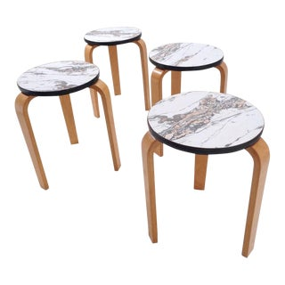Mid Century Alvar Aalto Bent Leg Style Nesting Cocktail Side Tables Stools ~ Set of 4 For Sale