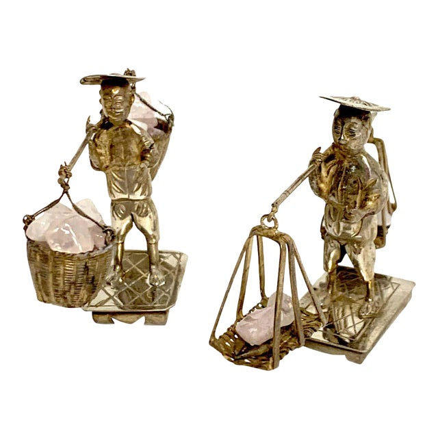 Chinese Export Sterling Figures of Labourers Carrying Rose Quartz - a Pair For Sale