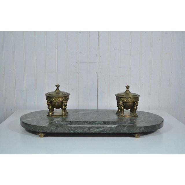 Antique French Empire Style Figural Bronze Green Marble Double Inkwell Neoclassic - Image 3 of 11