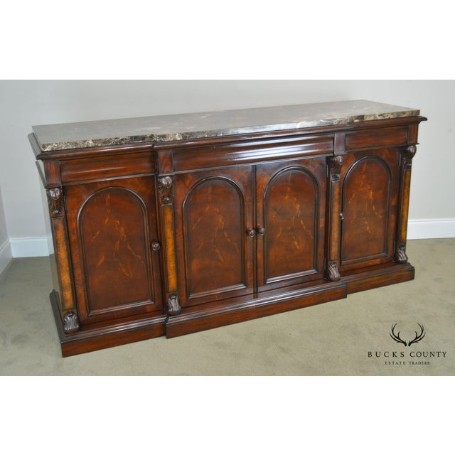 High Quality Mahogany Large Buffet with 4 Doors and Dovetailed Drawers with Marble Top Manufactured by Henredon - Possibly...