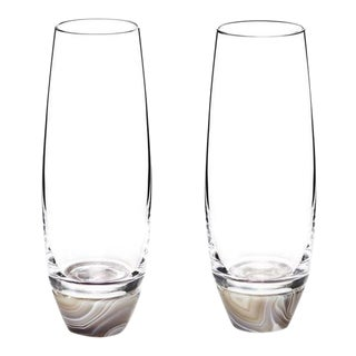 Elevo Champagne Glasses, Crystal & Smoke Agate, Set of 2 For Sale