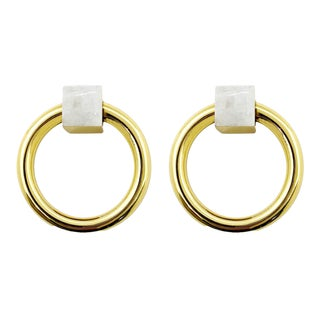 Addison Weeks Porter RIng Pull, Brass & Moonstone - a Pair For Sale
