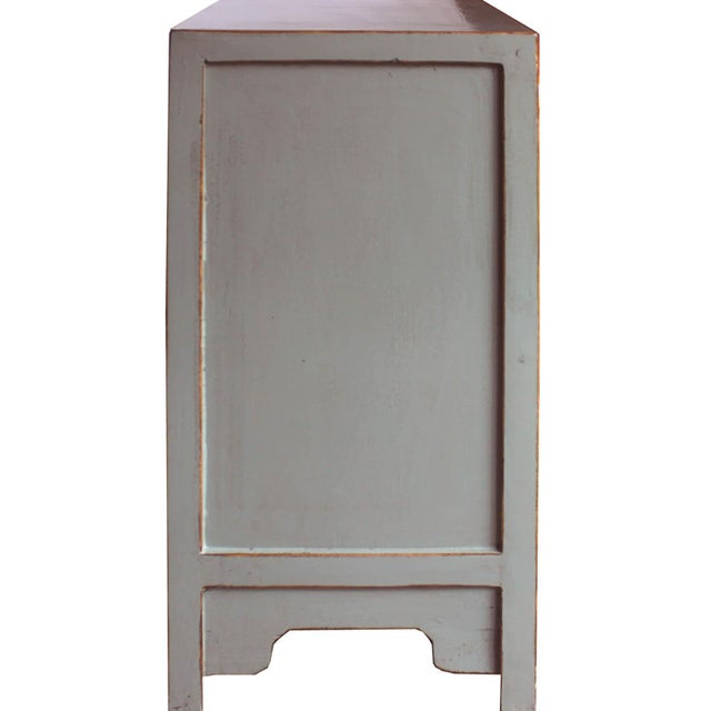 Metal Contemporary Gray Crackle Sideboard For Sale - Image 7 of 8