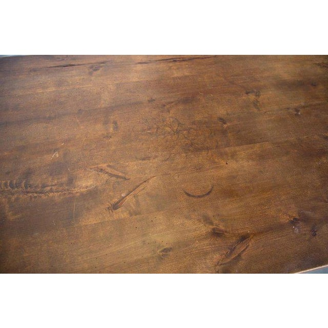 Spanish Beech Farm Table Iron Stretcher 19th C. For Sale - Image 4 of 11