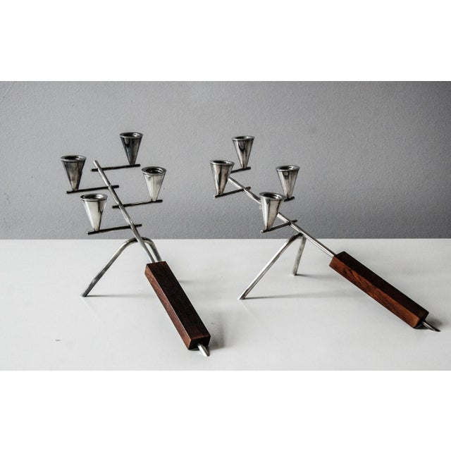 1960 Carl Christiansen Silverplate and Rosewood Candleholders Denmark - Pair For Sale In Richmond - Image 6 of 11