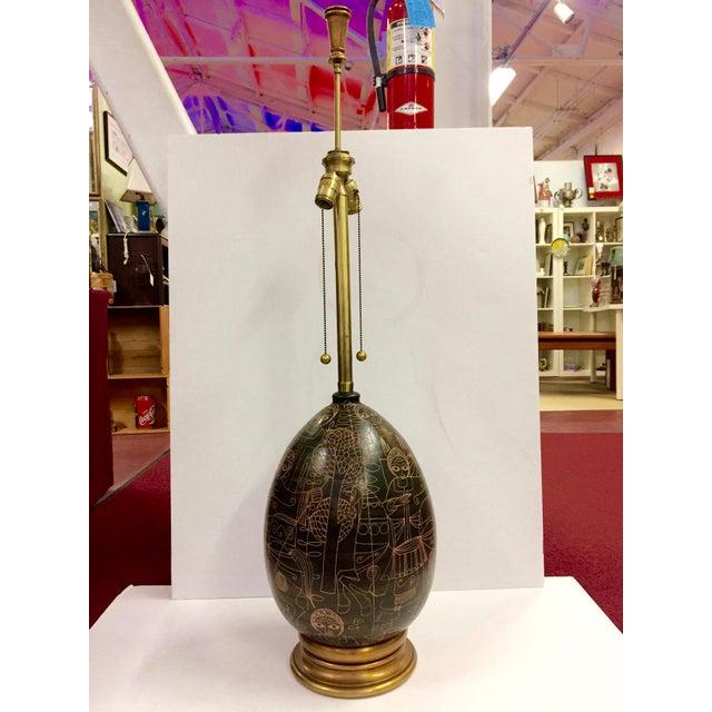 1960s Marcello Fantoni Figurative Brown Ceramic Lamp For Sale - Image 12 of 12
