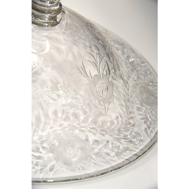 Thomas Webb & Sons Webb Monumental Blown Crystal Footed Centerpiece w/ Wheel Cut Floral Engraving For Sale - Image 4 of 7