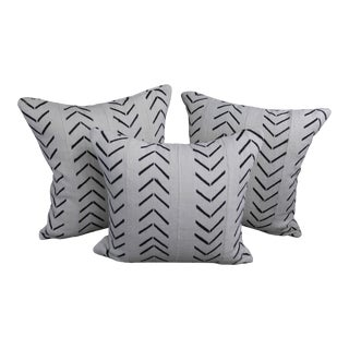 """Vintage Authentic """"Mudcloth"""" White With Black Design Pillows - Set of 3 For Sale"""