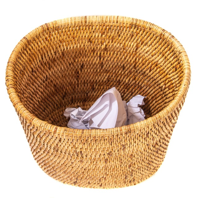 Boho Chic Artifacts Rattan Oval Waste Basket For Sale - Image 3 of 3