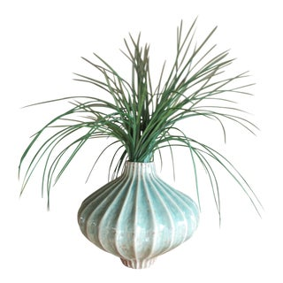 Global Views Teal Cinched and Fluted Vase For Sale