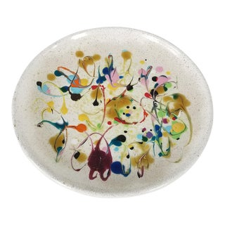 1980's Vintage Hand Painted Texture Abstract Colorful Decorative Plate For Sale