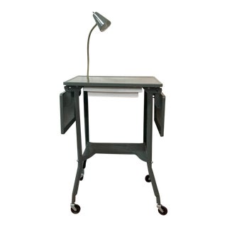 1960s Industrial Typing Table With Gooseneck Lamp