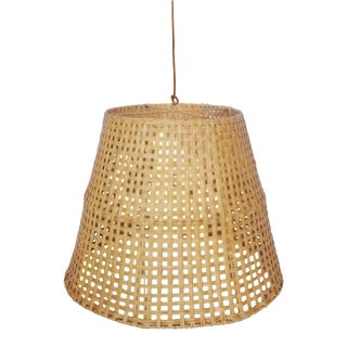 Large Basket Weave Pendant, Beige, Rattan For Sale