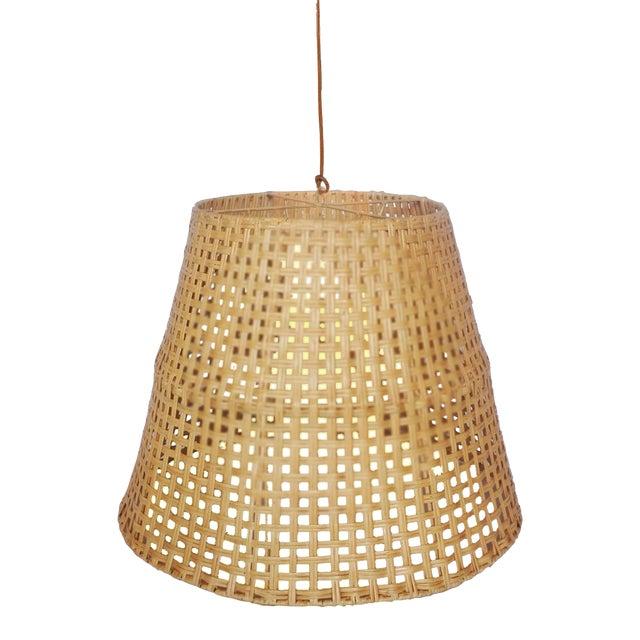 Large Basket Weave Pendant, Beige, Rattan For Sale