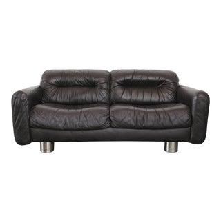 Milo Baughman Style Black Leather & Chrome Loveseat