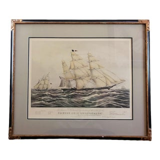 """Currier & Ives Clipper Ship """"Sweepstakes"""" Lithograph, Framed"""