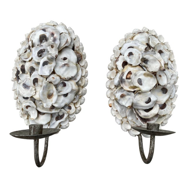Oly Studio Oyster Shell Candle Wall Sconces - a Pair For Sale