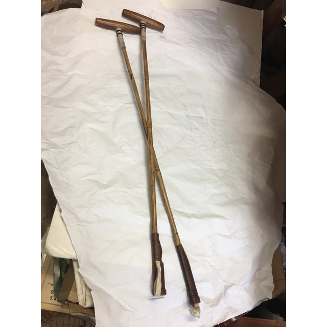 A beautiful new pair of polo mallets. A great Equestrian look and decor.
