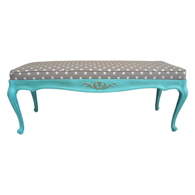 Vintage French-Style Aqua Blue & Grey Dot Bench - Image 1 of 6