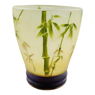 Vintage Resin Bamboo Design Pale Yellow & Green With Gold Accents Wastebasket For Sale