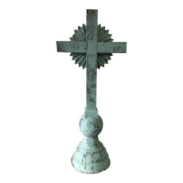 1930s Vintage Large Standing Metal Cross / Crucifix For Sale