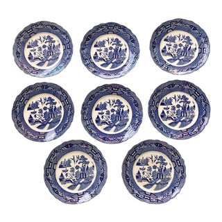 Antique Blue & White Pagoda Dinner Plates - Set of 8 For Sale