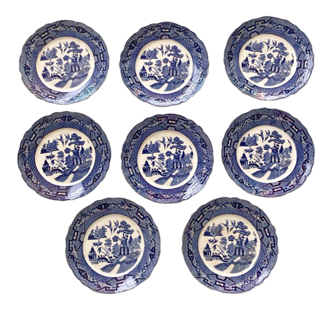 Antique Blue u0026 White Pagoda Dinner Plates - Set of 8 - Image 1 ...  sc 1 st  Chairish : antique dinner plate - pezcame.com