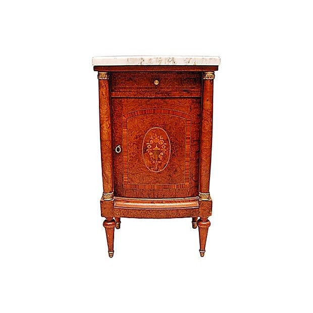 French Neoclassical Burled Mahogany Nightstand - Image 2 of 5
