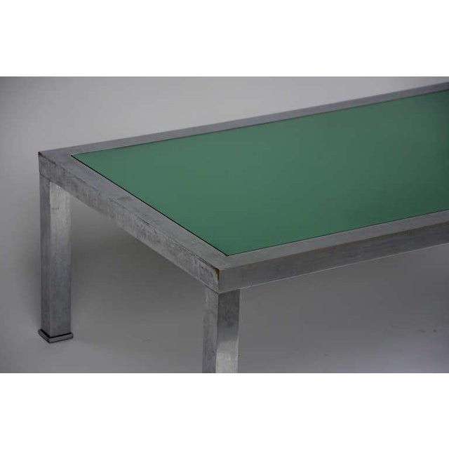 1970s Guy Lefevre Brushed Steel and Emerald Mirror Cocktail Table For Sale In Los Angeles - Image 6 of 9