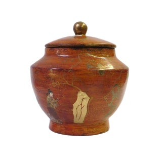 Chinese Brown Lacquer Painted Container For Sale