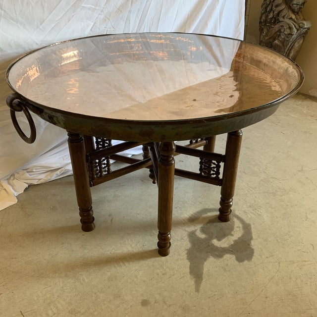 Islamic Heavy Copper Glass Moroccan Tray Table For Sale - Image 3 of 12