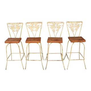 Rustic Outdoor Barstools - Set of 4 For Sale