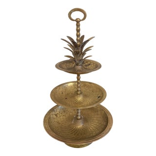 Brass Pineapple Tray With Three Levels For Sale