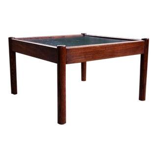 Mid-Century Black Slate Stone Dark Wood Teak Coffee Table For Sale