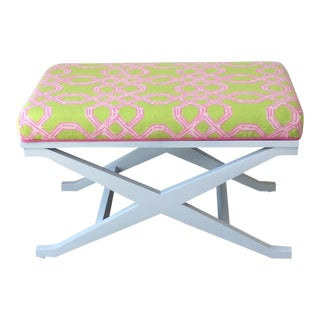 1980s Vintage Lilly Pulitzer Fabric X-Bench For Sale