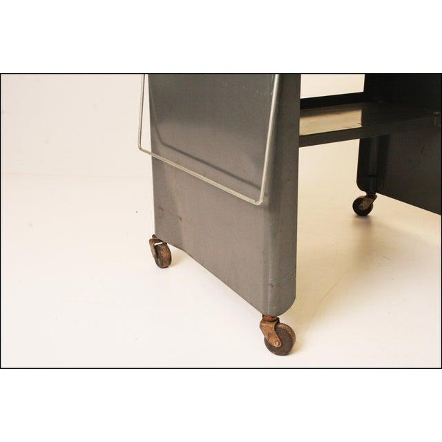 Vintage Cole Steel Industrial Gray Rolling Typewriter Table - Image 11 of 11