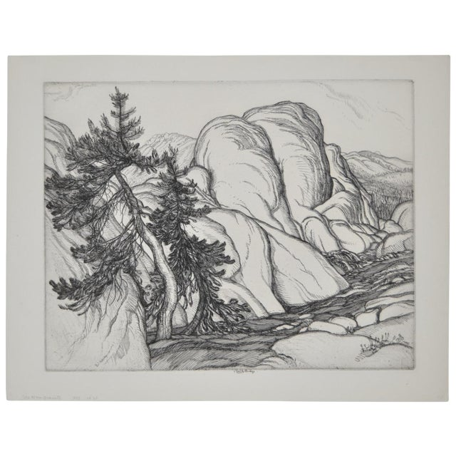 """Ice Worn Granite"" Vintage Etching by Roi Partridge For Sale"