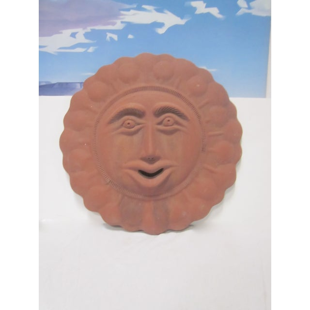 Mid-Century Sun Face Pottery Sculpture - Image 5 of 8