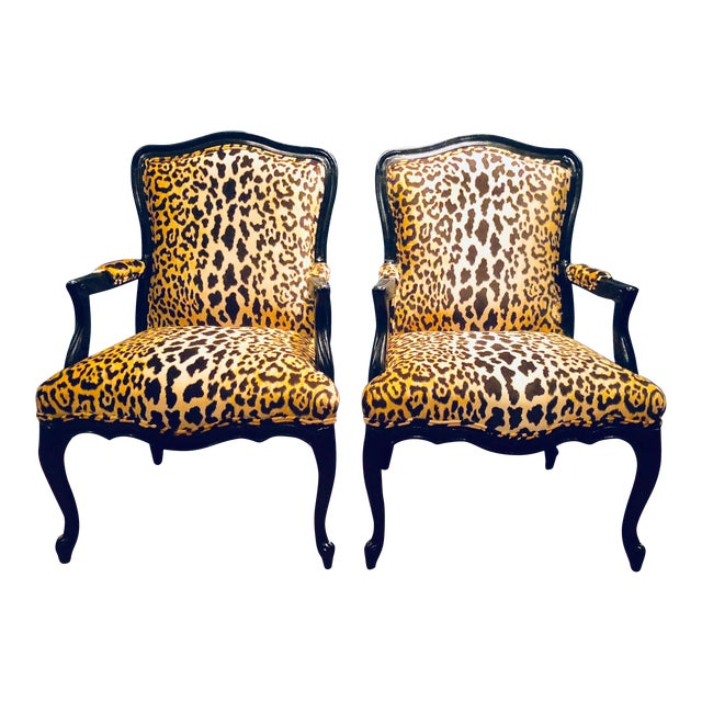 Black Lacquered Jamil Velvet Leopard Armchairs - A Pair For Sale