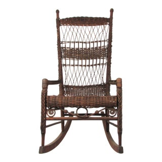 Antique Wicker Rocking Chair Porch Rocker For Sale