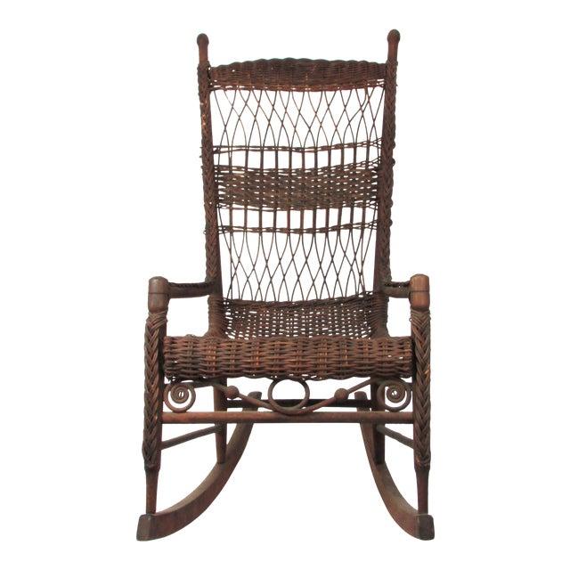 Antique Wicker Rocking Chair Porch Rocker For Sale - Antique Wicker Rocking Chair Porch Rocker Chairish