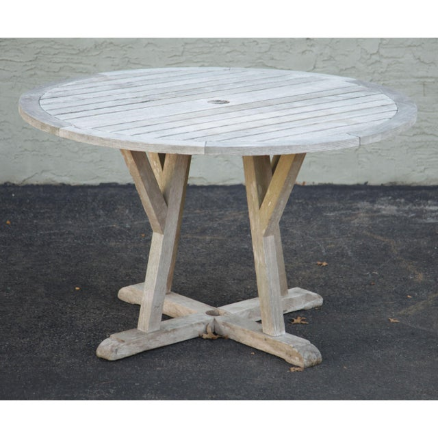 "Traditional Weather Master Weathered Teak 48"" Round Patio Dining Table For Sale - Image 3 of 12"