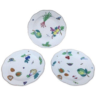 Three Antique European Naturalistic Porcelain Plates For Sale