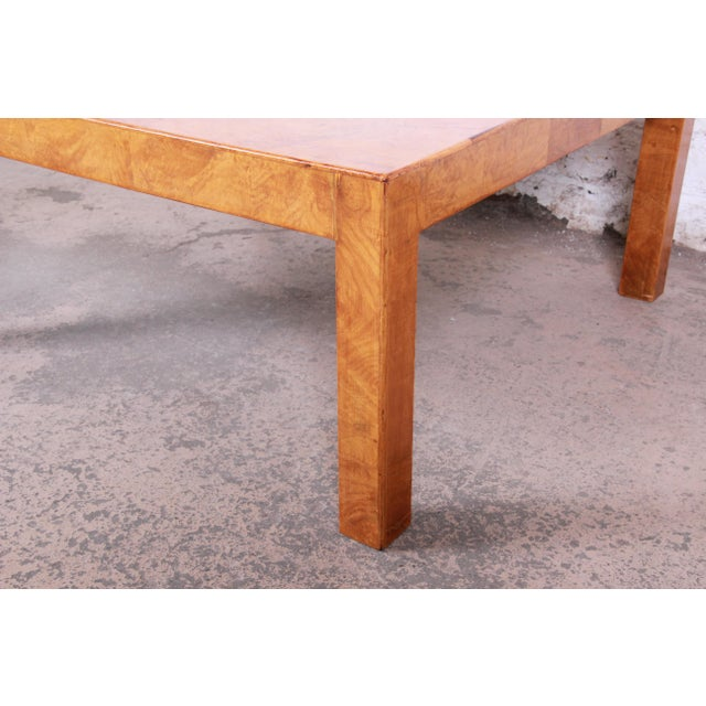 Mid-Century Burl Wood Parsons Coffee Table For Sale In South Bend - Image 6 of 9