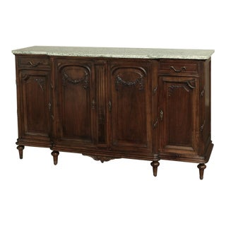 19th Century French Neoclassical Marble-Top Walnut Buffet For Sale